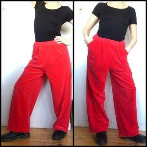 Sonia Rykiel Red Velour Lounge Pants S